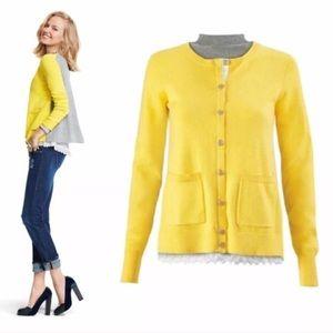 CAbi Belle Cardigan Sweater Gray Yellow Style 3010